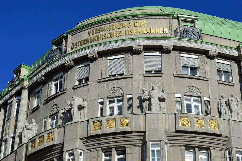 Detail Hubert Gessner Architecture on Linke Weinzeile Vienna. Detail of Versicherungsanstalt der Österreichischen Eisenbahnen, Architekt Hubert Gessner 1912 royalty free stock images