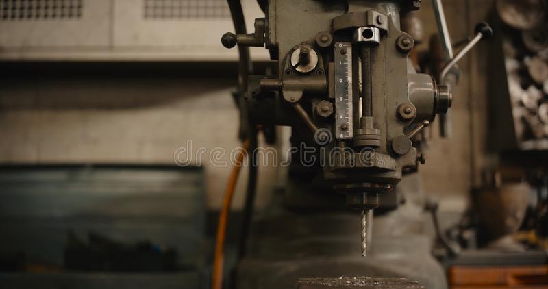 Detail of vertical drilling machine. stock image