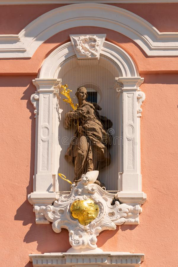 Detail view of a beautiful filigree saint figure in the pilgrimage church in Birnau. On Lake Constance royalty free stock image
