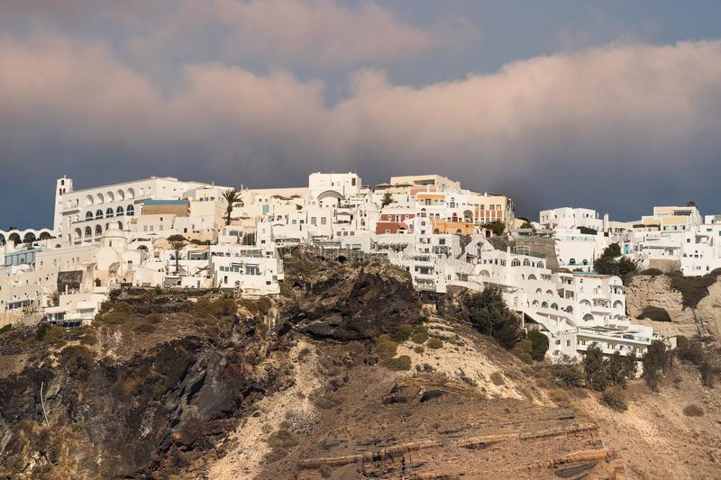 Detail view of the city of Thira in Santorini, Geece stock images