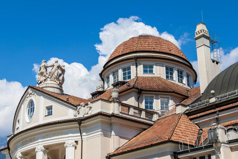 Detail view on dome roof complex of famous historical building Kurhaus in Meran. Province Bolzano, South Tyrol, Italy. Europe. The spa town of Merano lies in the royalty free stock photo