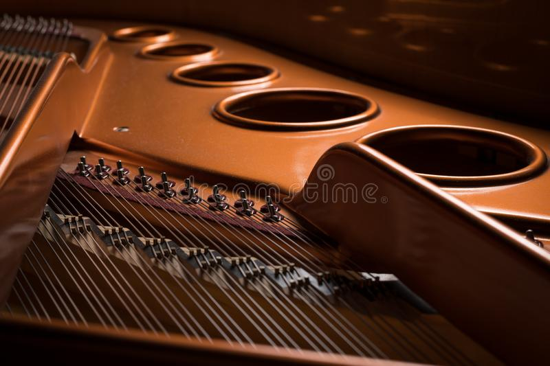 Detail view of the interior of a grand piano royalty free stock images