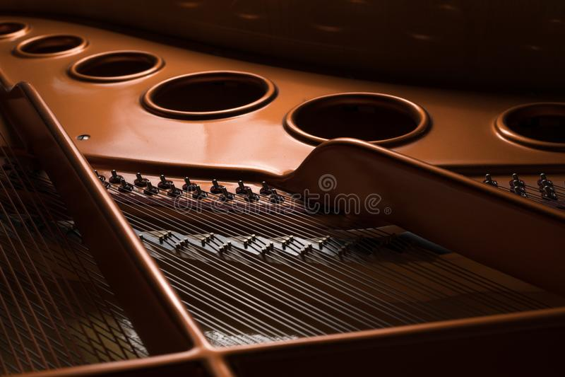 Detail view of the interior of a grand piano royalty free stock image