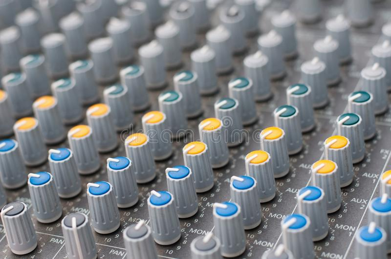 Detail view of music mixer. With knobs royalty free stock image