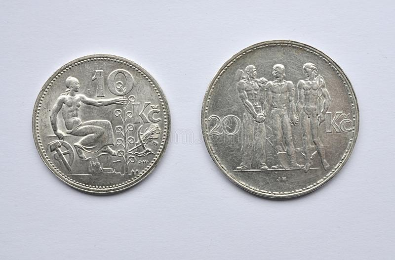 Old silver Czechoslovakia coins. Detail view, old silver Czechoslovakia coins royalty free stock photos