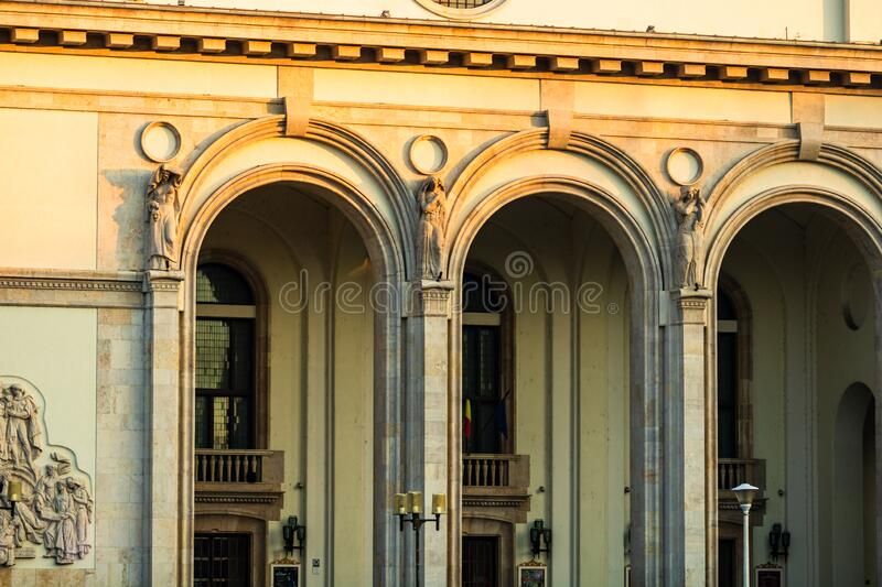 Detail view of the Opera building from Bucharest, Romania, 2020.  stock photos
