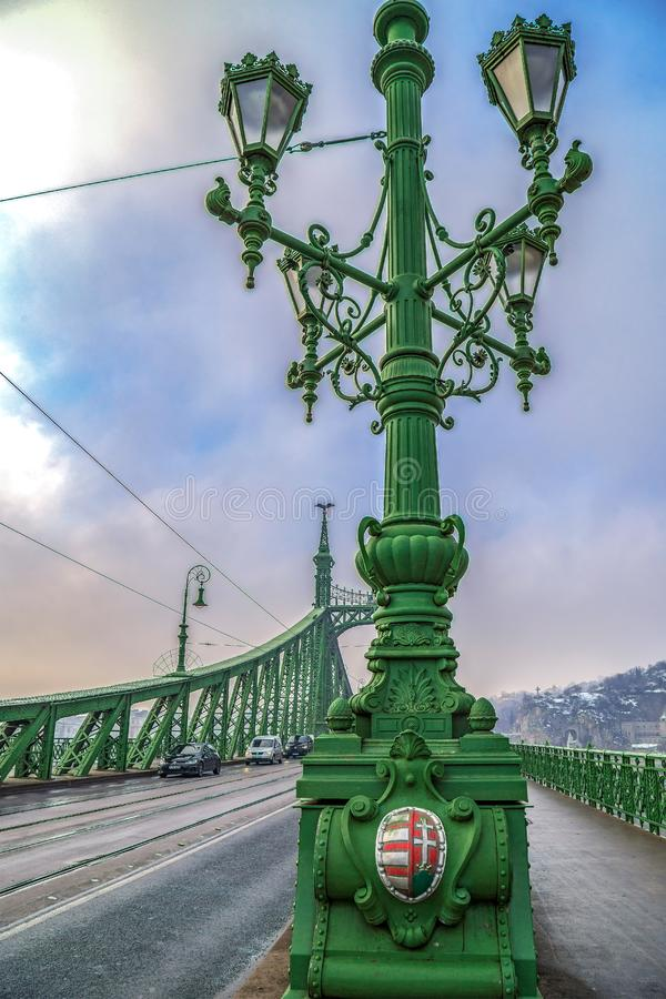Detail view of Liberty Bridge in Budapest, Hungary stock images