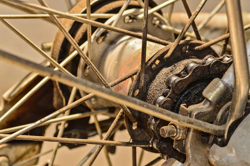 Detail view of rear wheel with chain royalty free stock images