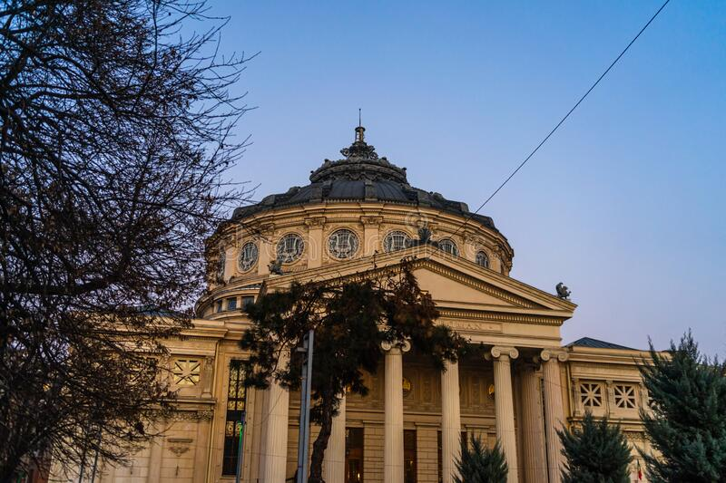 Detail view of the Romanian Athenaeum or Ateneul Roman, at evening light, a landmark in the Old Town of Bucharest, Romania, 2020.  stock photos