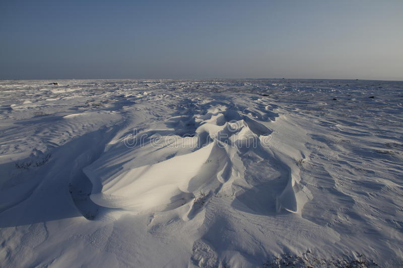 Detail view of Sastrugi, wind carved ridges in the snow, near Arviat, Nunavut. Winter scene stock images