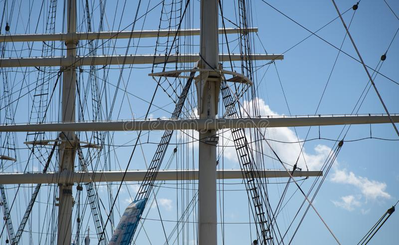 Detail view of the upper masts for the rigging of a large sailing ship, maritim. Detail view of the upper masts for the rigging of a large sailing ship royalty free stock images