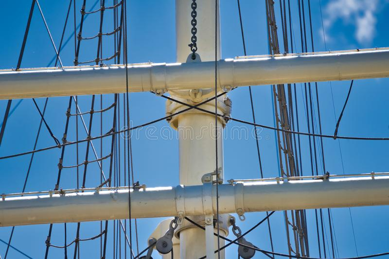 Detail view of the upper masts for the rigging of a large sailing ship, maritim. Detail view of the upper masts for the rigging of a large sailing ship stock photo