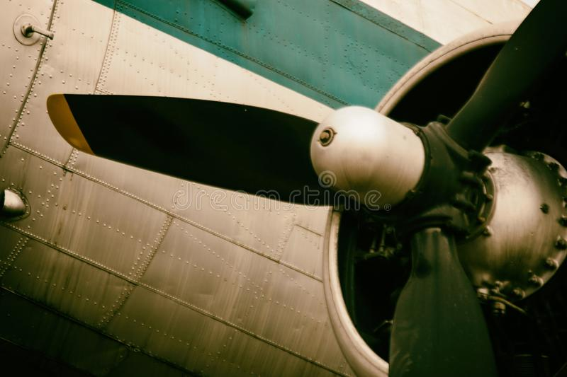 Background of a propeller engine of classic metal plane. royalty free stock images