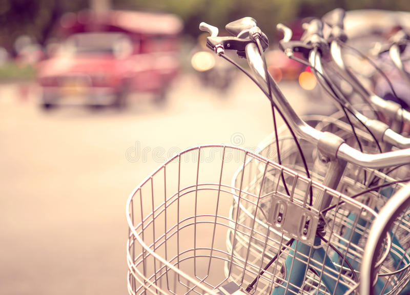 Detail of a Vintage Bicycle Travel Resting in the city Street stock photography