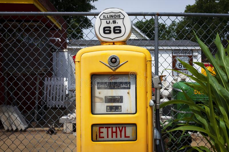 Detail of a vintage gas pump at The Old Service Station along the historic route 66 in Williamsville. Williamsville, Illinois, USA - July 5, 2014: Detail of a royalty free stock photo