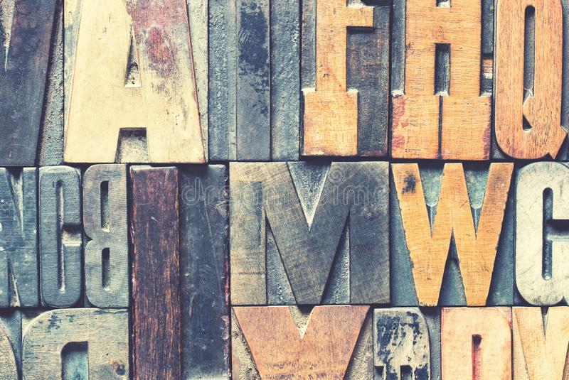 Detail of vintage wooden printing blocks royalty free stock images