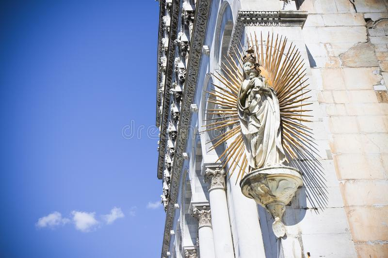 Detail of the Virgin Mary sculpture with Jesus royalty free stock photography