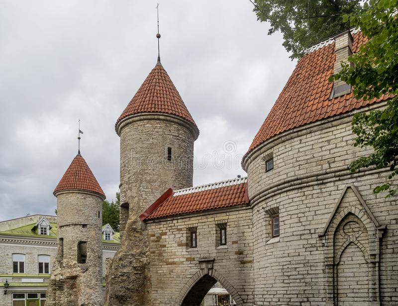 Detail of the Viru Gate and the medieval towers of the Old Town of Tallinn, Estonia royalty free stock photography