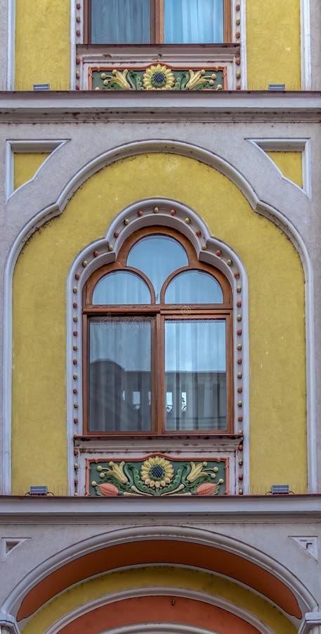 Detail vom Hotel Astoria-ehemaliges Sztarill Palast-gefunden in Ferd lizenzfreie stockbilder