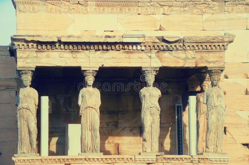 Detail von Erechtheion, altgriechischer Tempel auf der Akropolise lizenzfreie stockbilder