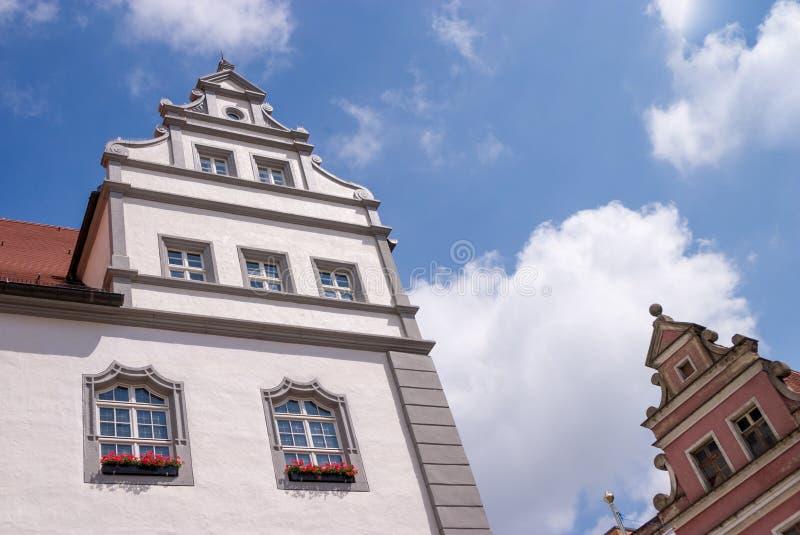 Detail von europäischen Häusern in Wittenberg lizenzfreies stockbild