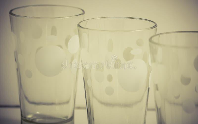 Detail von Glasschalen stockfoto
