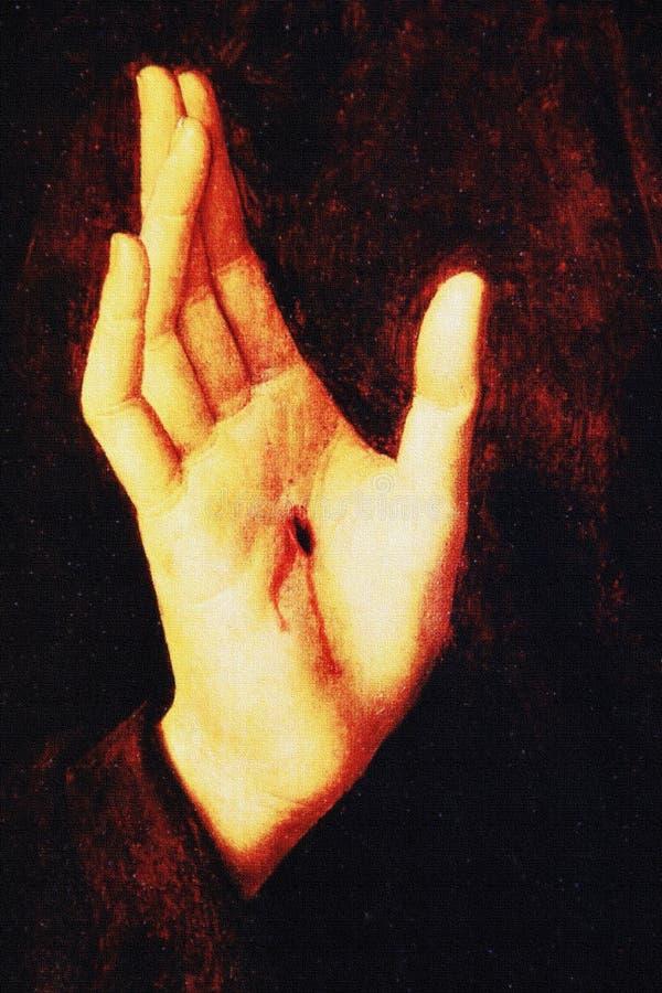 Detail von Jesus Christ-Hand lizenzfreies stockbild