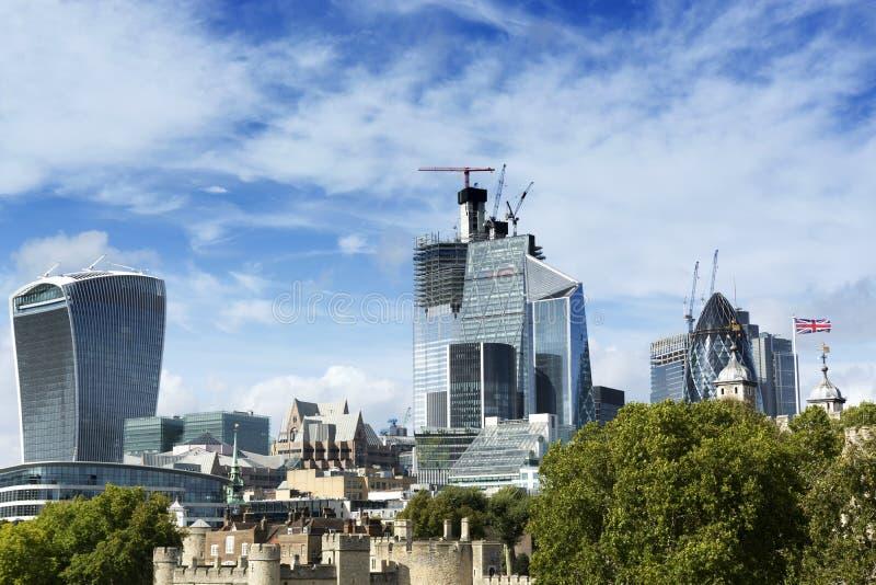 Detail von London-Stadt mit modernen Gebäuden in 19 September 2018 Großbritannien stockbild