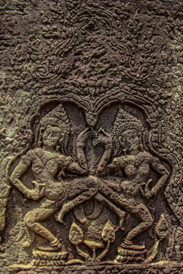 Detail von Steincarvings im angkor wat, Kambodscha lizenzfreies stockfoto