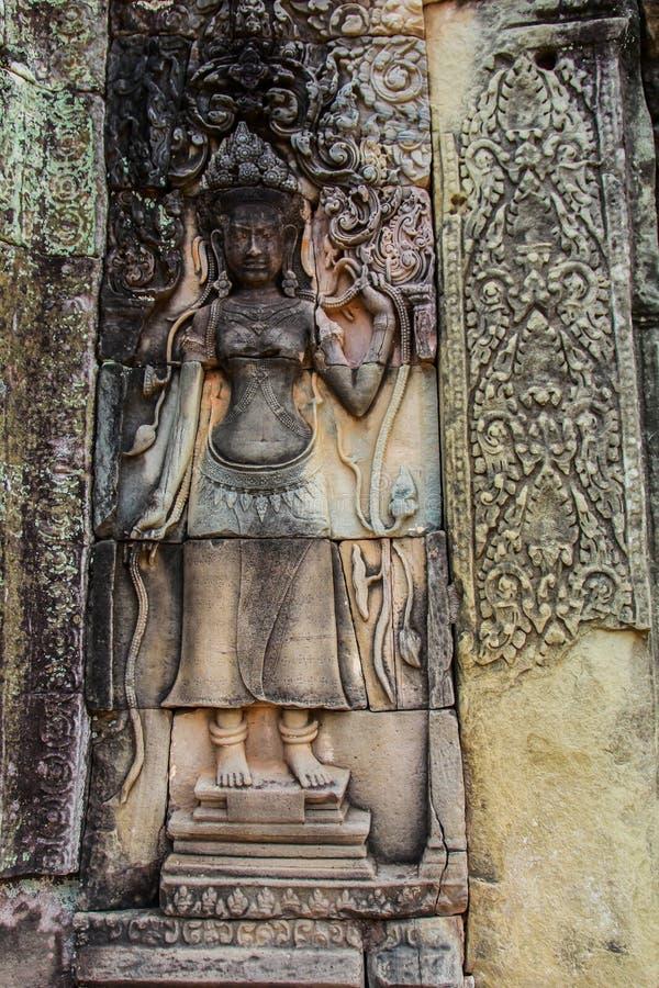 Detail von Steincarvings im angkor wat, Kambodscha stockfoto