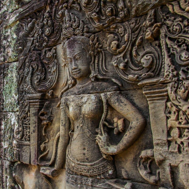 Detail von Steincarvings im angkor wat, Kambodscha lizenzfreie stockfotos