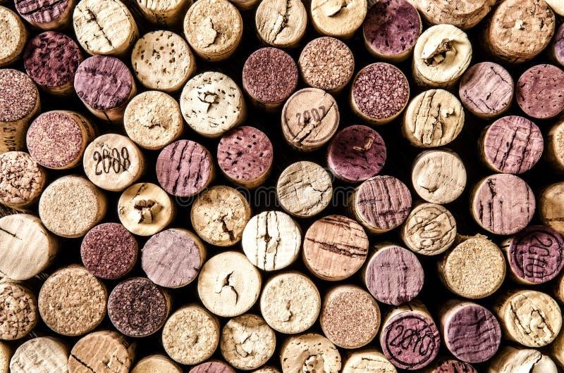 Detail von Weinkorken in der Farbweinleseart stockbild