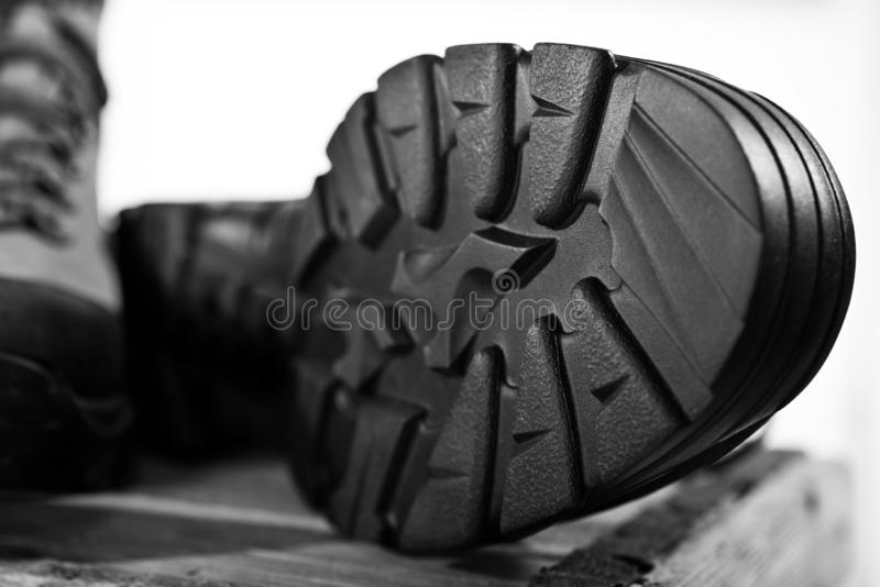 Detail of walking boots. With grip sole royalty free stock photos