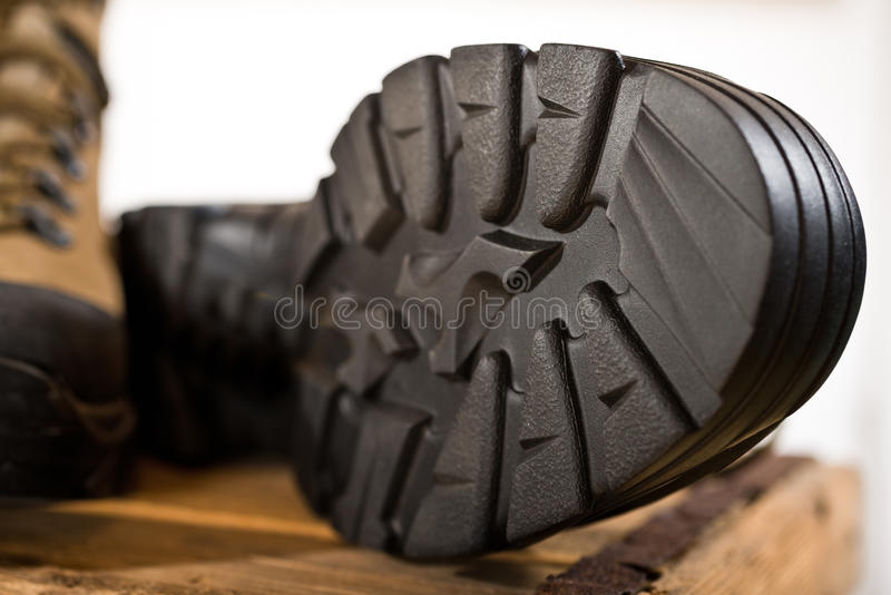 Detail of walking boots royalty free stock photo