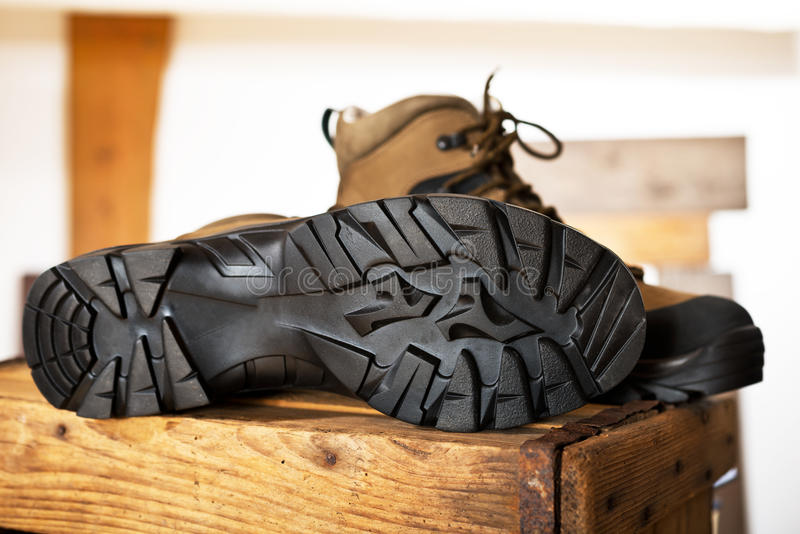 Detail of walking boots. With grip sole stock images
