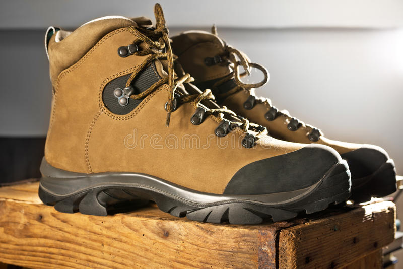 Detail of walking boots. With grip sole stock image