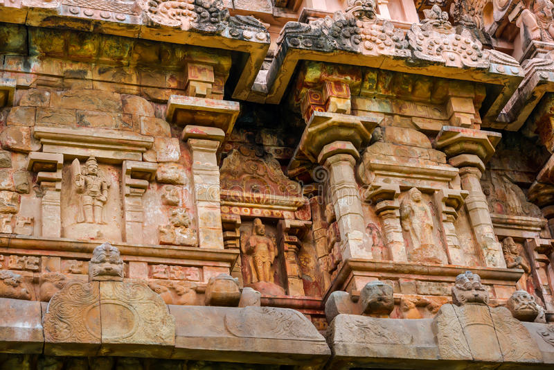 Detail of wall Great architecture ancient Gangaikonda Cholapuram Temple, India, Tamil Nadu, Thanjavur (Trichy)Great. The temple i. S included in UNESCO World stock images