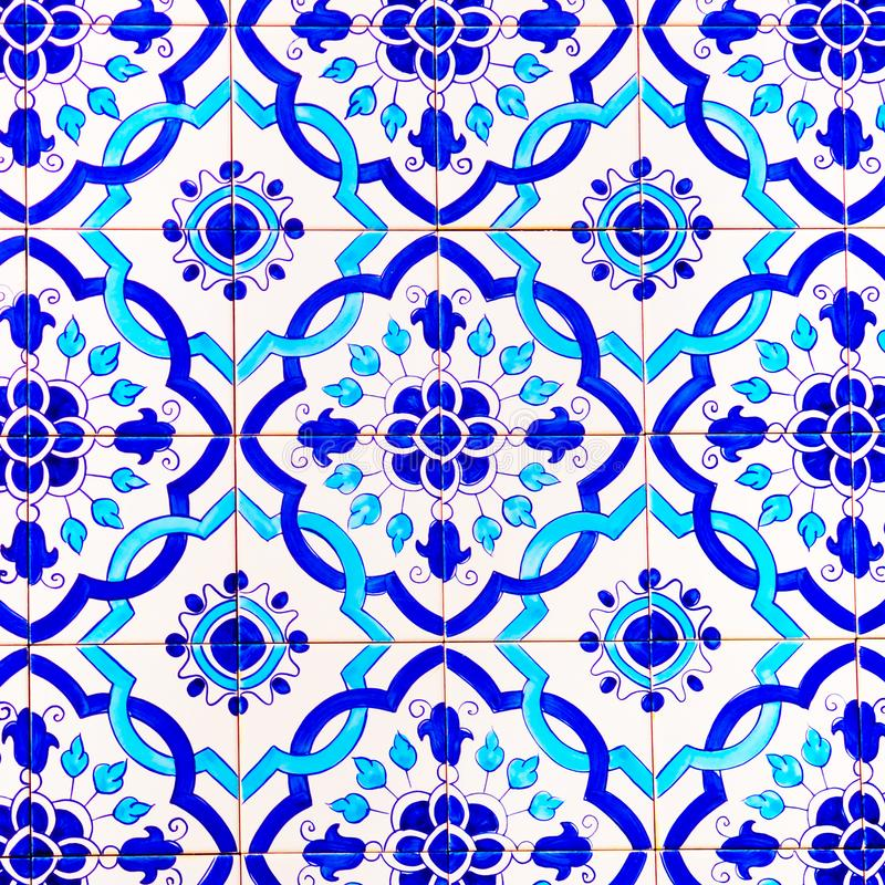 Portuguese Handmade Glazed Tiles, Patterns and Backgrounds, Portugal Colorful Street Art, Travel Europe stock images