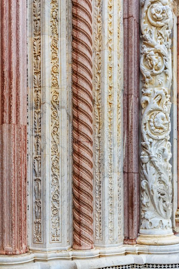 Detail of wall of Siena Cathedral Santa Maria Assunta, Duomo in Siena, Italy royalty free stock images