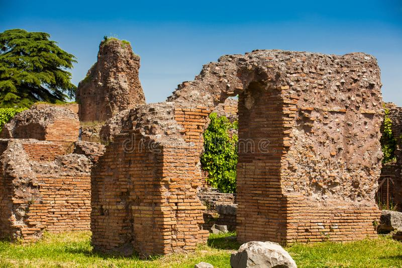 Walls of the ruins at the Flavian Palace also known as the Domus Flavia on the Palatine Hill in Rome royalty free stock image