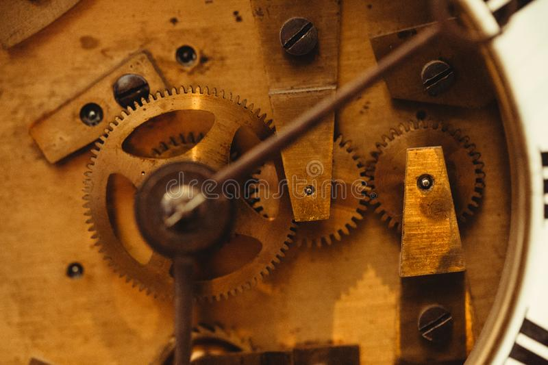 Detail of watch machinery on the table stock photography