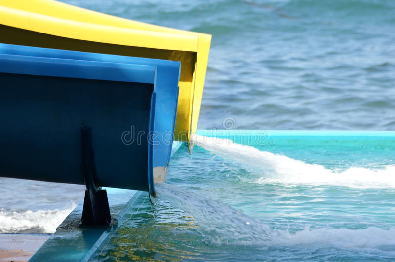 Detail of water park attractions (slide) stock photography