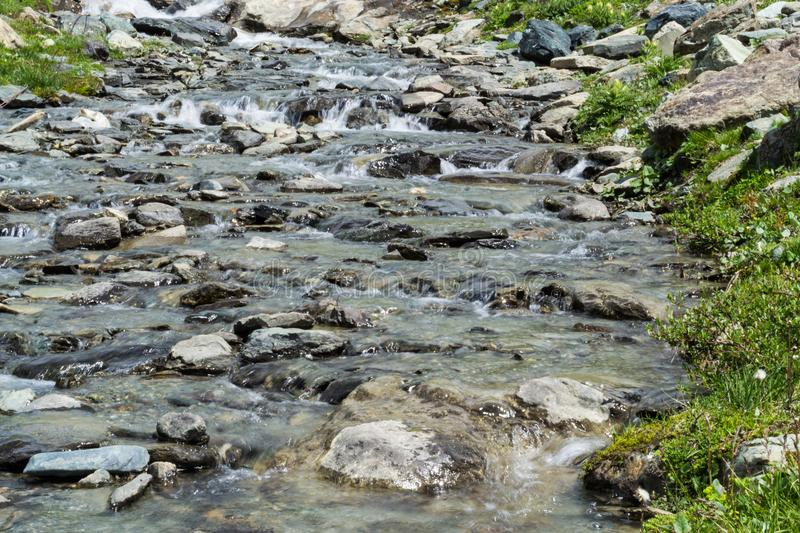 Detail of a water stream in mountain royalty free stock photo