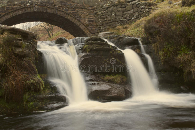 Detail of waterfall at Three Shires Head stock photos