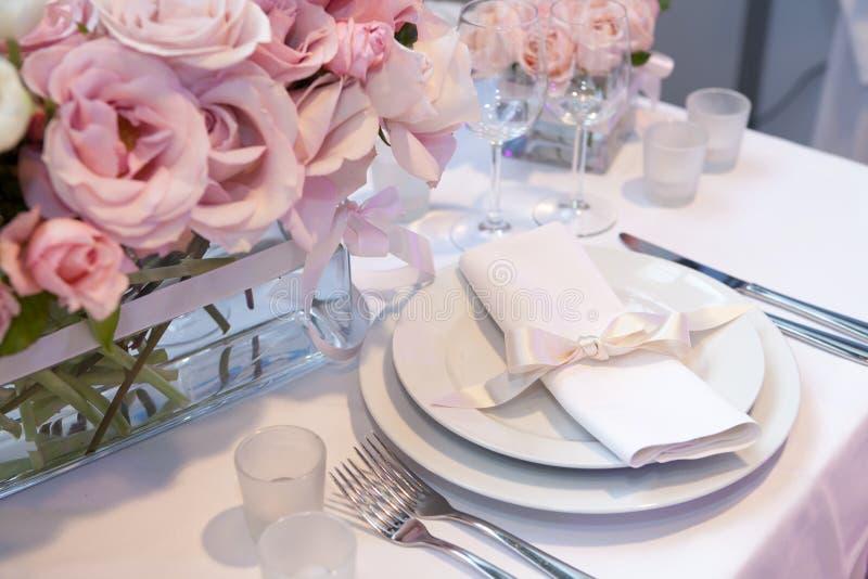 Detail of a wedding dinner stock photos