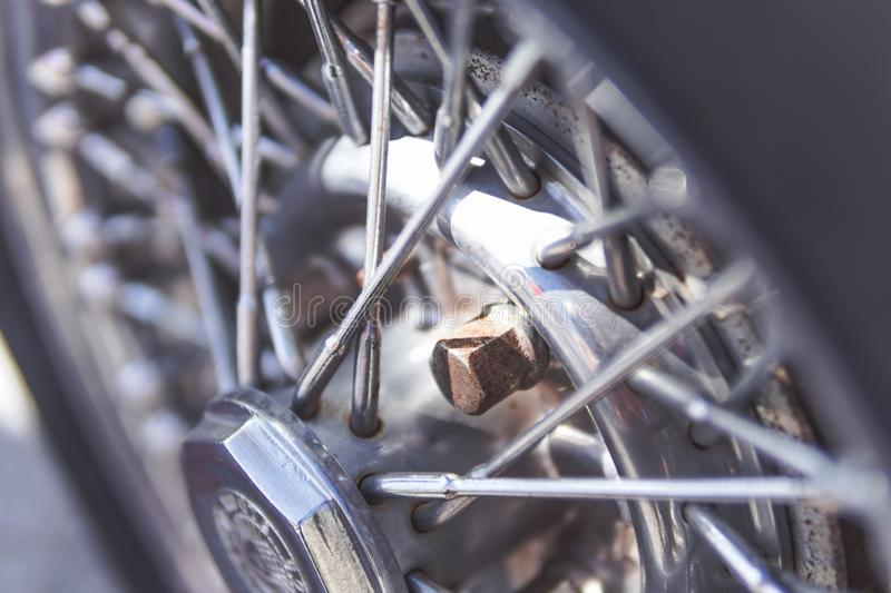 Detail of the wheels of the car, Oldtimer royalty free stock photography