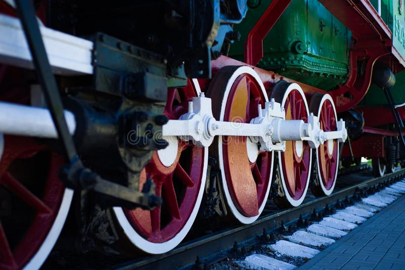 Detail of wheels of a vintage steam train locomotive royalty free stock photo