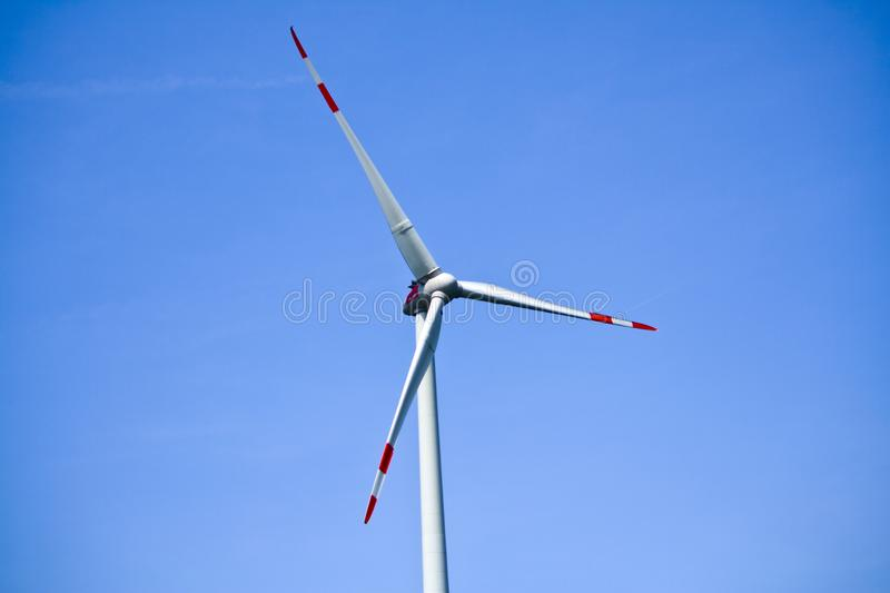 Detail of wind turbine in Bavaria, Germany. Rotor of a wind turbine and in the background the blue sky royalty free stock photos