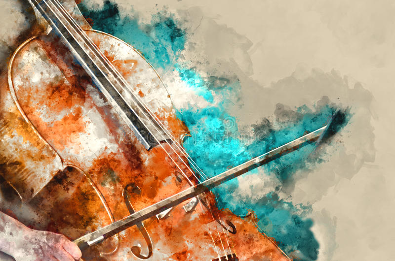 Download Detail Of A Woman Playing Cello Art Painting Artprint Stock Image - Image: 88147951