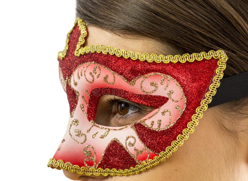Detail of a Woman with a Venetian Mask royalty free stock images